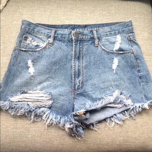 Distressed high waist jean shorts